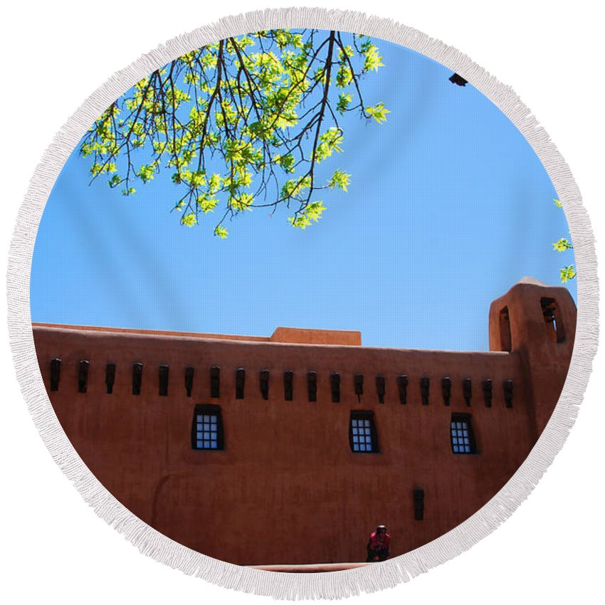 New Mexico Round Beach Towel featuring the photograph New Mexico Museum Of Art by Susanne Van Hulst