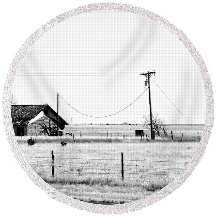 New Mexico Round Beach Towel featuring the photograph New Mexico Roadside by Lars Lentz