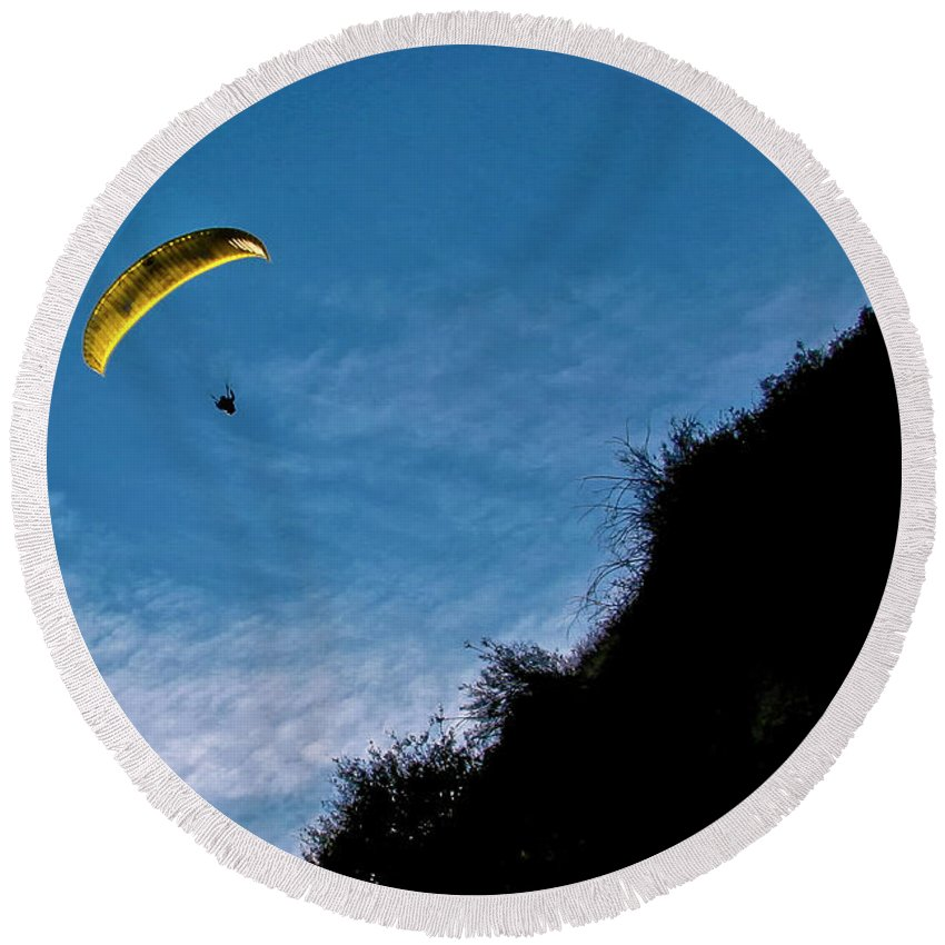 Para-glider Round Beach Towel featuring the photograph New Moon by Albert Seger
