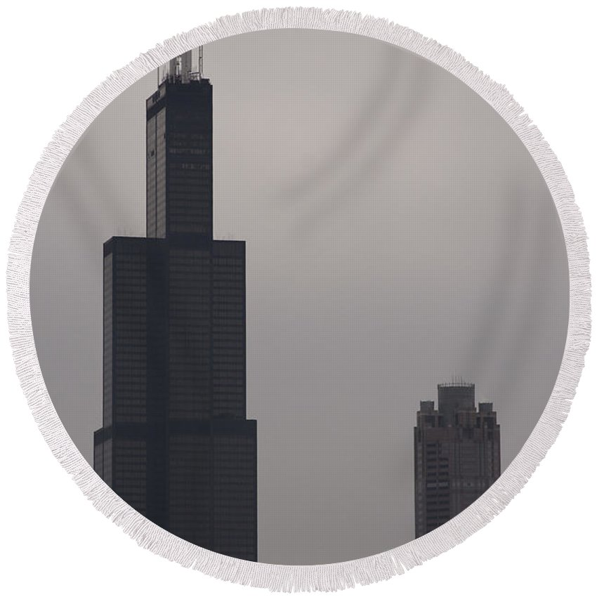 Chicago Windy City Sears Willis Tower Building High Tall Skyscraper Urban Metro Tourist Attraction Round Beach Towel featuring the photograph New Name by Andrei Shliakhau