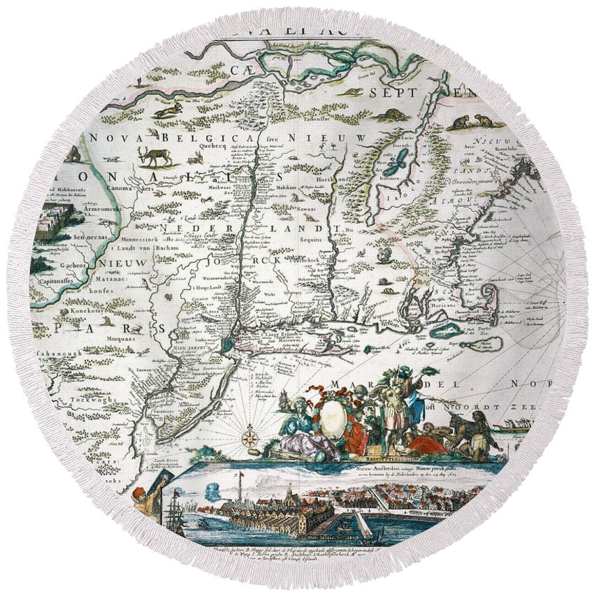 1673 Round Beach Towel featuring the photograph New Netherland Map by Granger