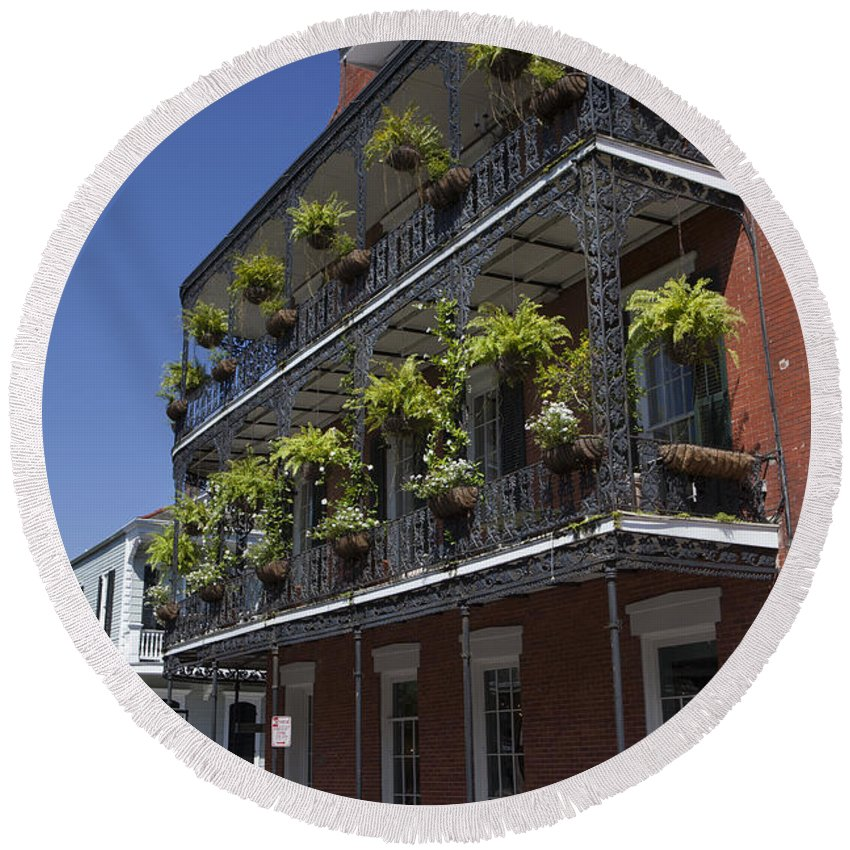 New Orleans Round Beach Towel featuring the photograph New Orleans French Quarter by Anthony Totah