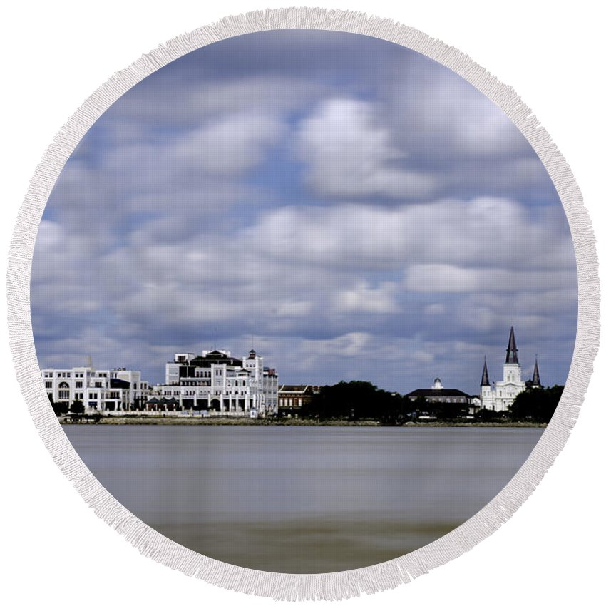 Algiers Point Round Beach Towel featuring the photograph New Orleans From Algiers Point - In Color by Chris Coffee