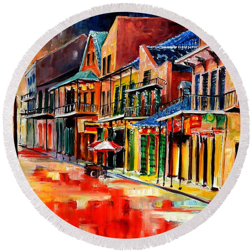 New Orleans Round Beach Towel featuring the painting New Orleans Jive by Diane Millsap
