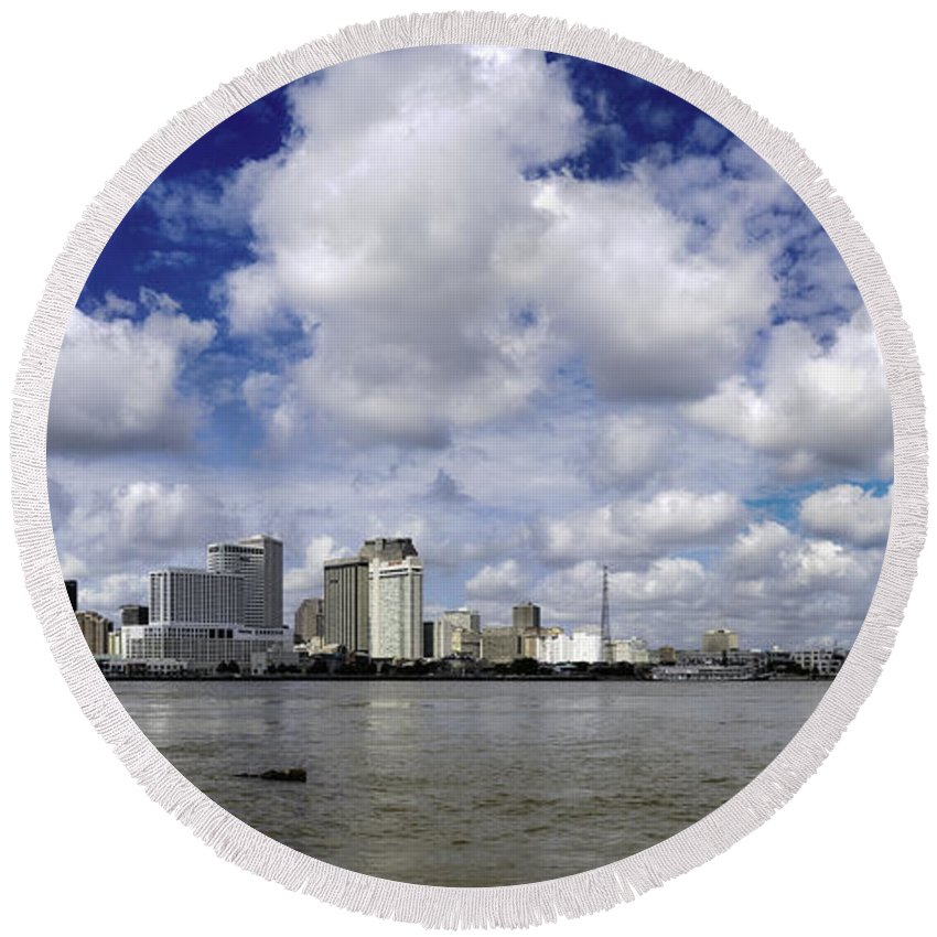 New Orleans Round Beach Towel featuring the photograph New Orleans Panoramic by Chris Coffee