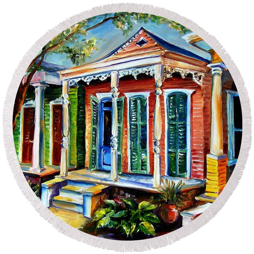 New Orleans Paintings Round Beach Towel featuring the painting New Orleans Plain And Fancy by Diane Millsap