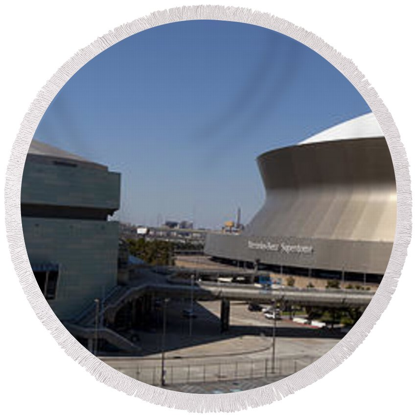 New Orleans Arena Round Beach Towel featuring the photograph New Orleans Sports And Entertainment Complex by Anthony Totah