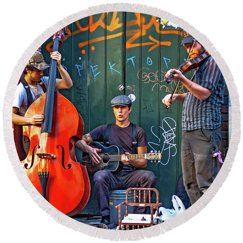 French Quarter Round Beach Towel featuring the photograph New Orleans Street Musicians by Steve Harrington