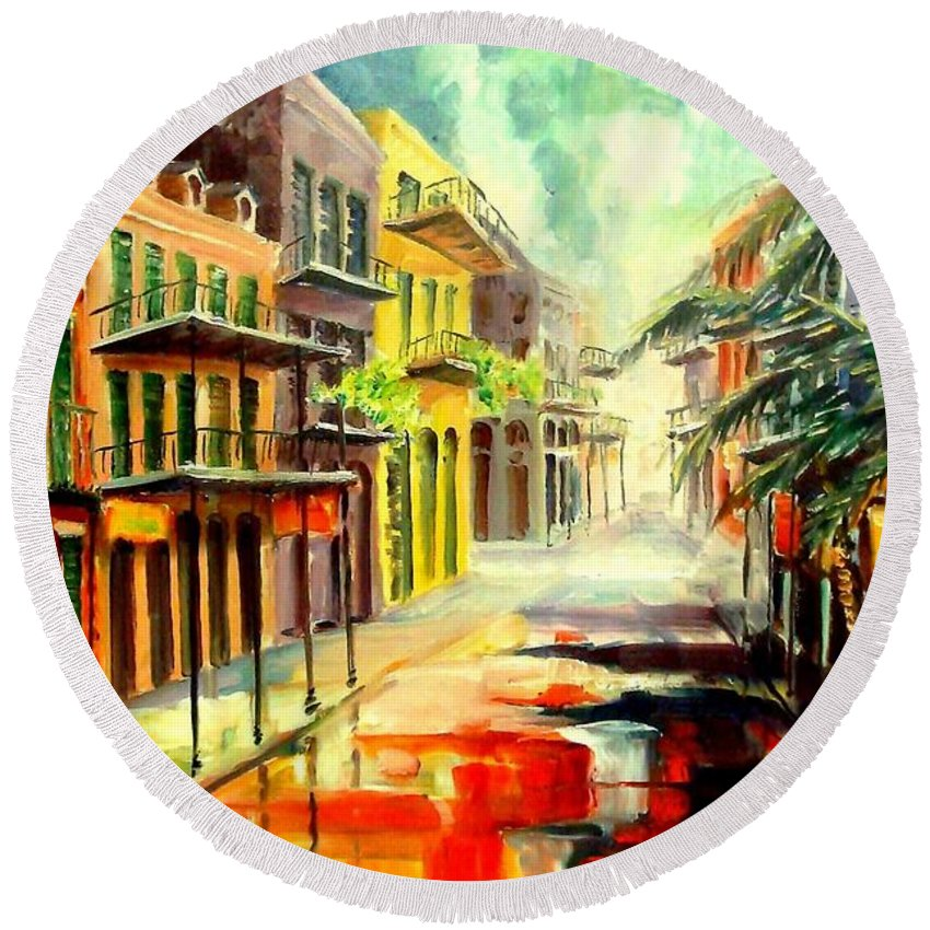 New Orleans Round Beach Towel featuring the painting New Orleans Summer Rain by Diane Millsap