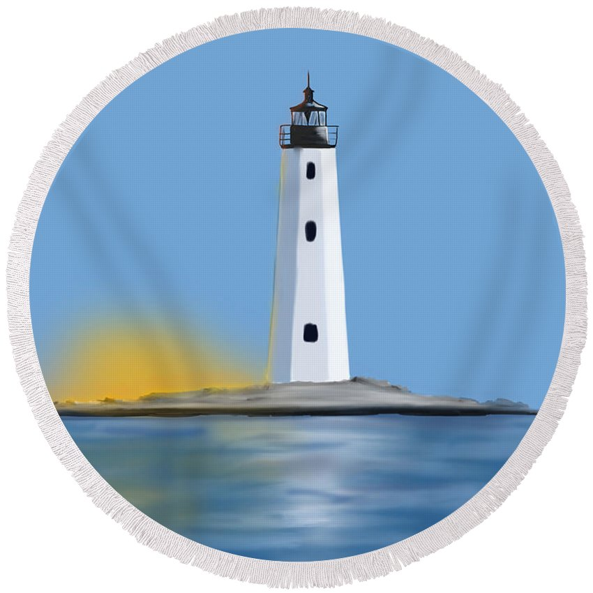 Light Round Beach Towel featuring the digital art New Point Comfort Light by Justin Canose