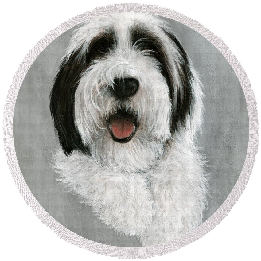Dog Art Bruce Lennon Art Round Beach Towel featuring the painting New Pup by Bruce Lennon