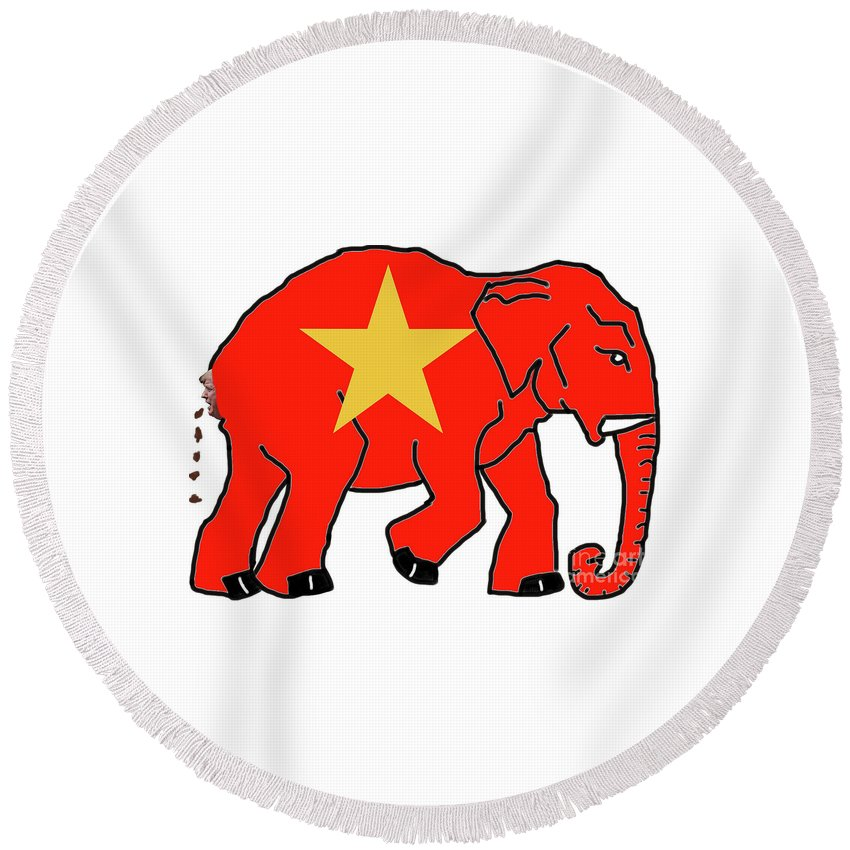 Natanson Round Beach Towel featuring the drawing New Republican Party by Steven Natanson