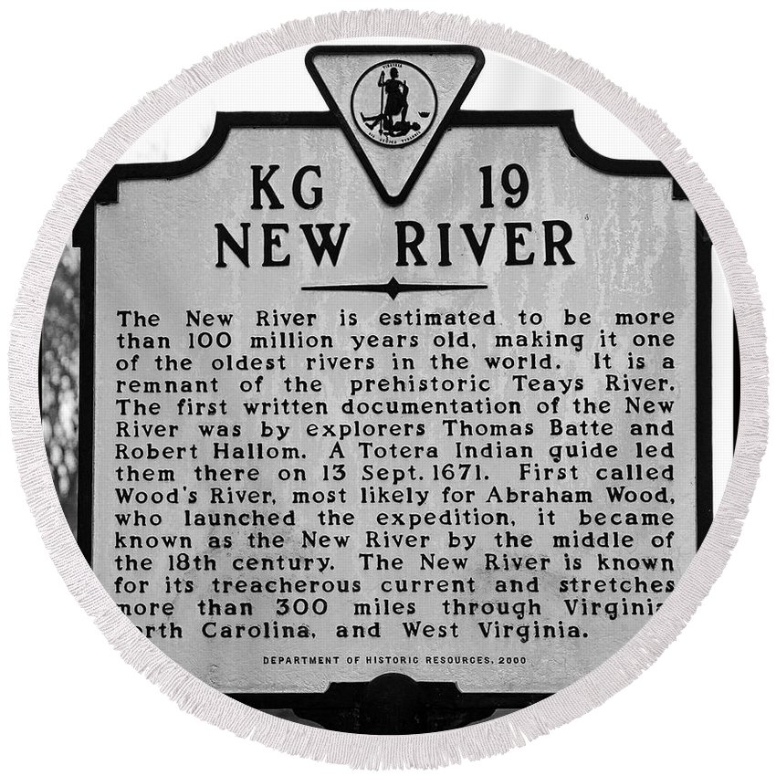 New River Round Beach Towel featuring the photograph New River Historical Marker by Kerri Farley