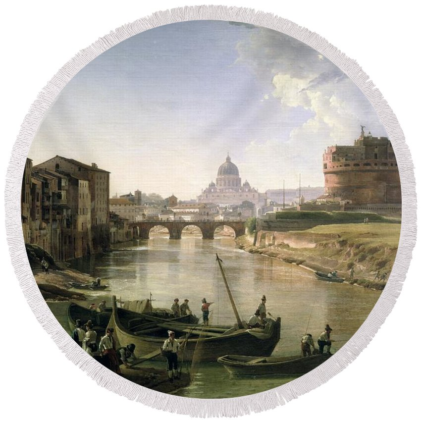 River Tiber Round Beach Towel featuring the painting New Rome With The Castel Sant Angelo by Silvestr Fedosievich Shchedrin