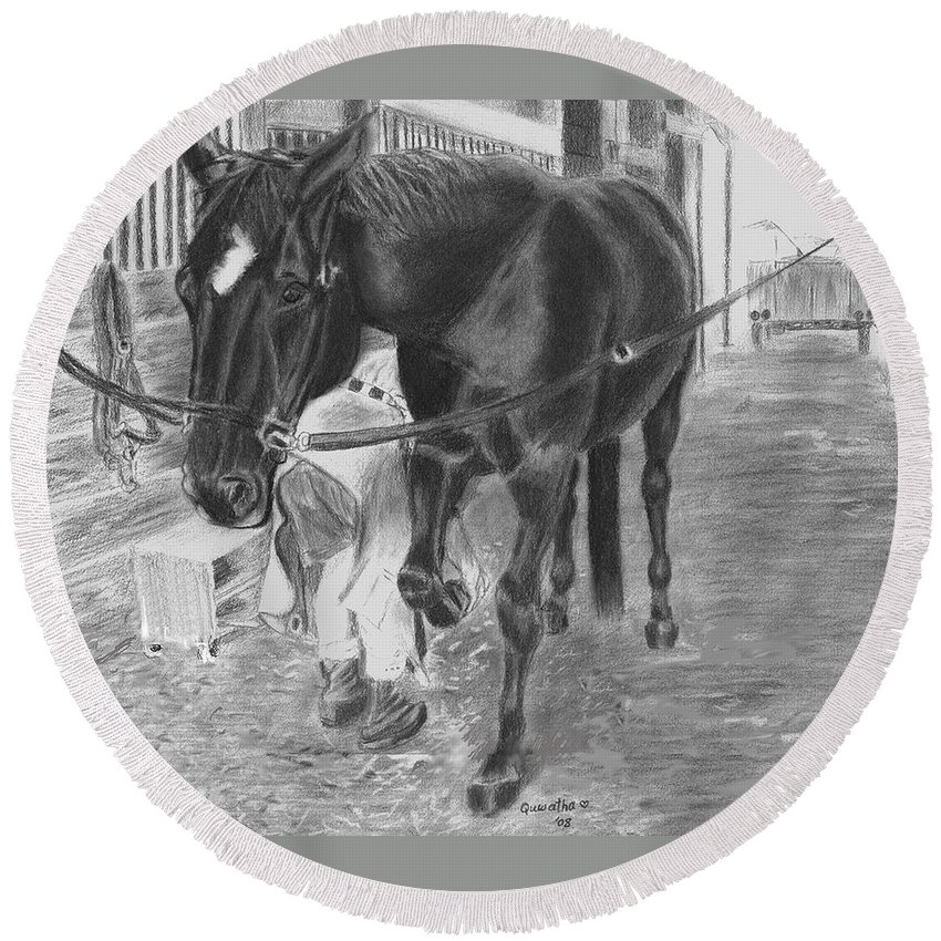 Horse Round Beach Towel featuring the drawing New Shoes by Quwatha Valentine