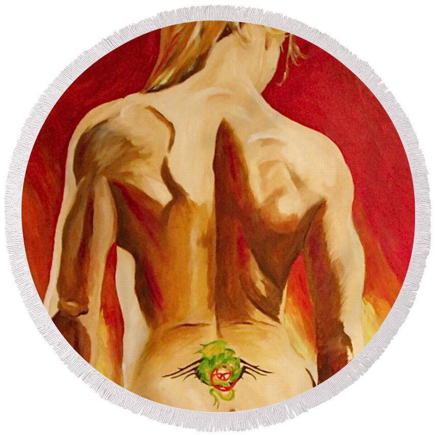 Nude Tatto Red Hot Round Beach Towel featuring the painting New Tattoo by Herschel Fall