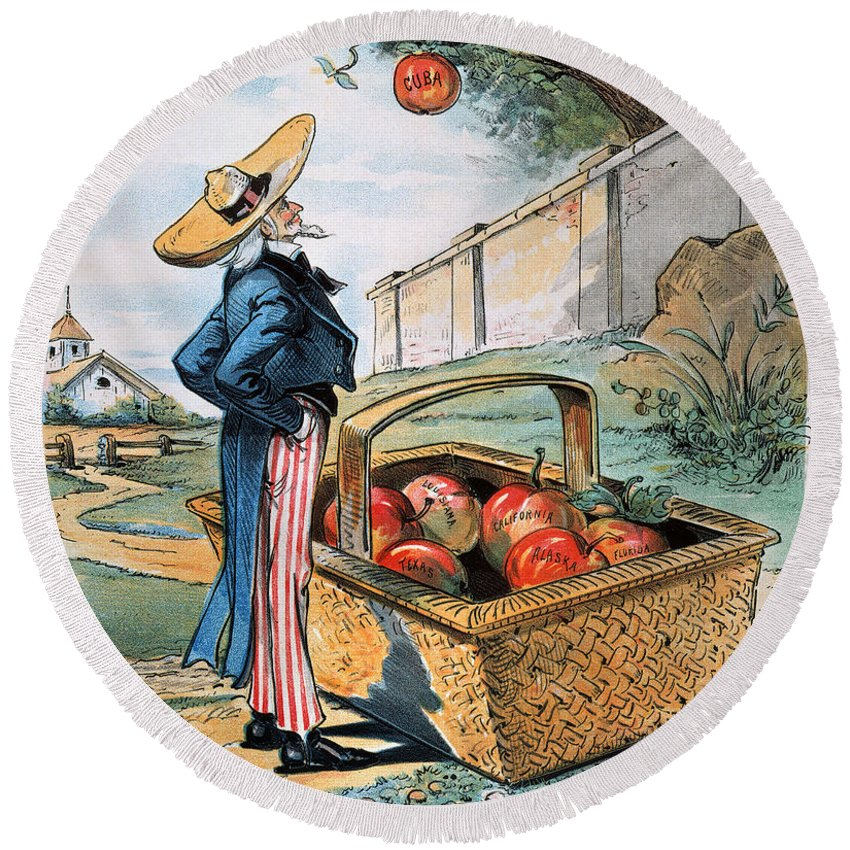 1897 Round Beach Towel featuring the photograph New Territories Cartoon by Granger