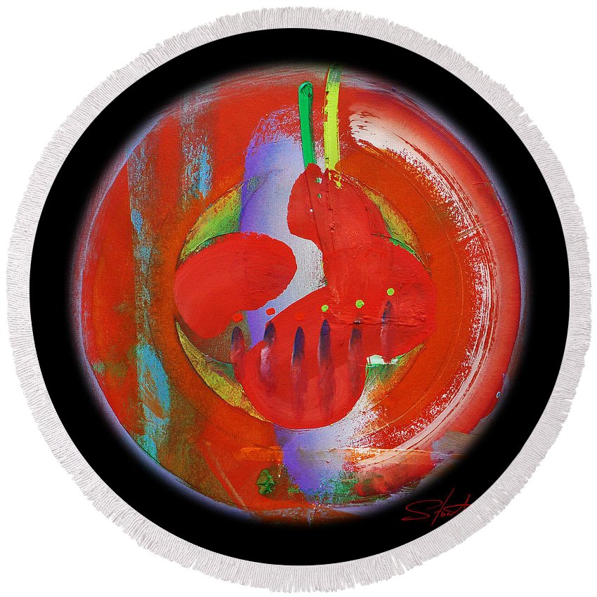 Symbol Round Beach Towel featuring the painting New World by Charles Stuart