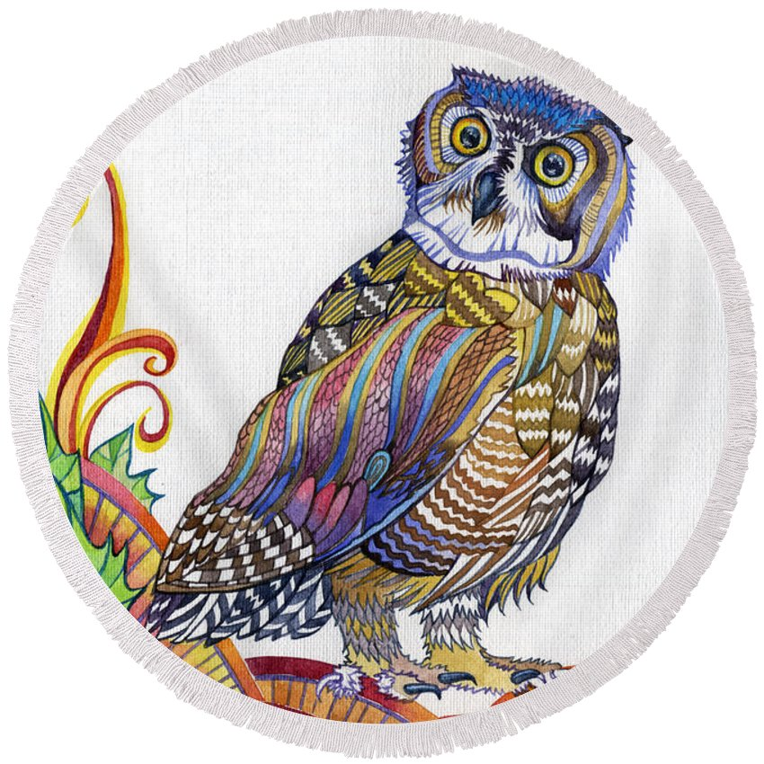 An Owl Round Beach Towel featuring the painting New-year Owl by Anna Berezina