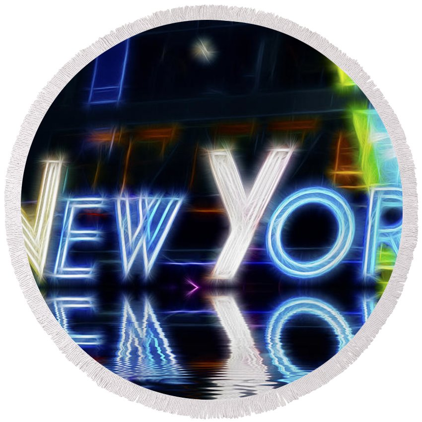 New York Round Beach Towel featuring the photograph New York by Amy Jackson