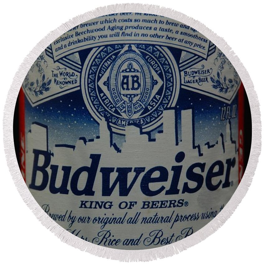 Budweiser Round Beach Towel featuring the photograph New York Bud by Rob Hans