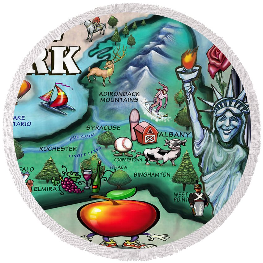 New York Round Beach Towel featuring the digital art New York Cartoon Map by Kevin Middleton