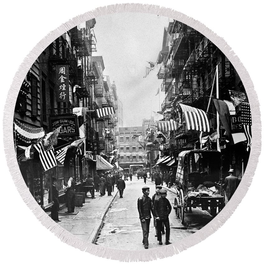 1909 Round Beach Towel featuring the photograph New York : Chinatown, 1909 by Granger