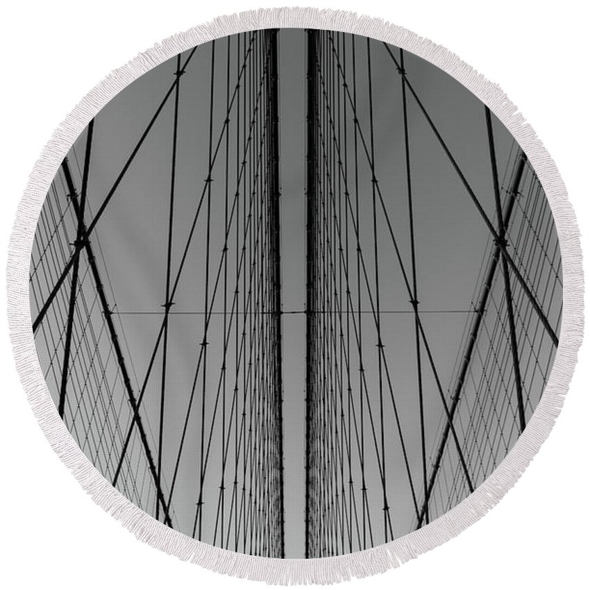 New York City Brooklyn Bridge Detail Abstract Round Beach Towel featuring the photograph New York City - Brooklyn Bridge by Scott Moore
