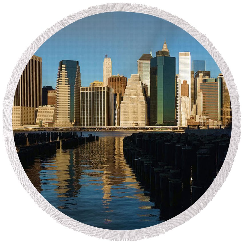 Georgia Mizuleva Round Beach Towel featuring the digital art New York City Morning Reflections - Impressions Of Manhattan by Georgia Mizuleva