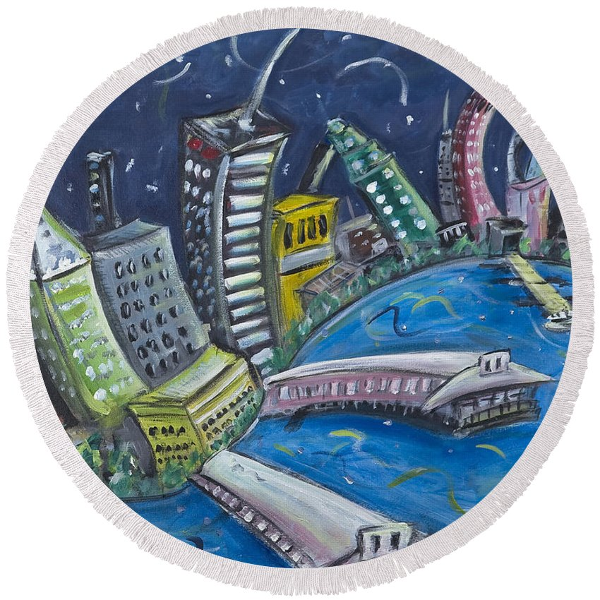 New York City Manhattan Hudson River Round Beach Towel featuring the painting New York City Skyline Hoboken by Jason Gluskin