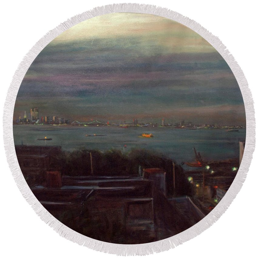 New York City Round Beach Towel featuring the painting New York Harbor by Sarah Yuster