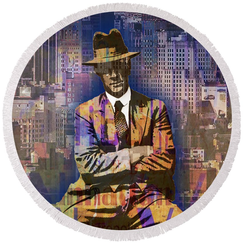 Sky Scraper Round Beach Towel featuring the painting New York Man Seated City Background 1 by Tony Rubino