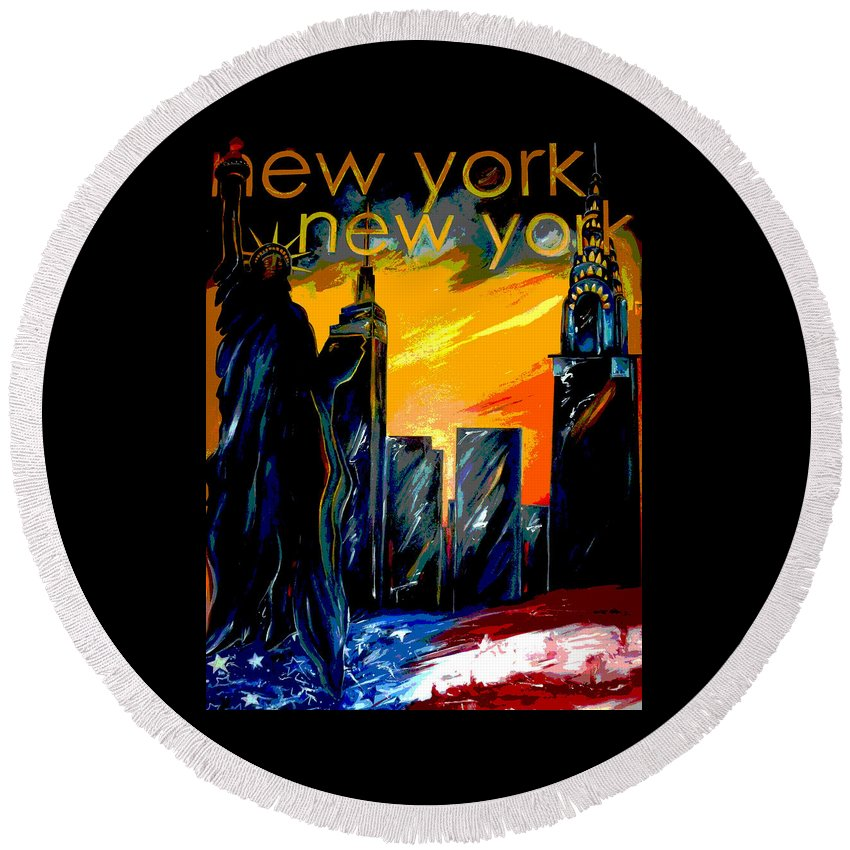 Skyline Round Beach Towel featuring the painting New York Night Skyline by Jean Habeck