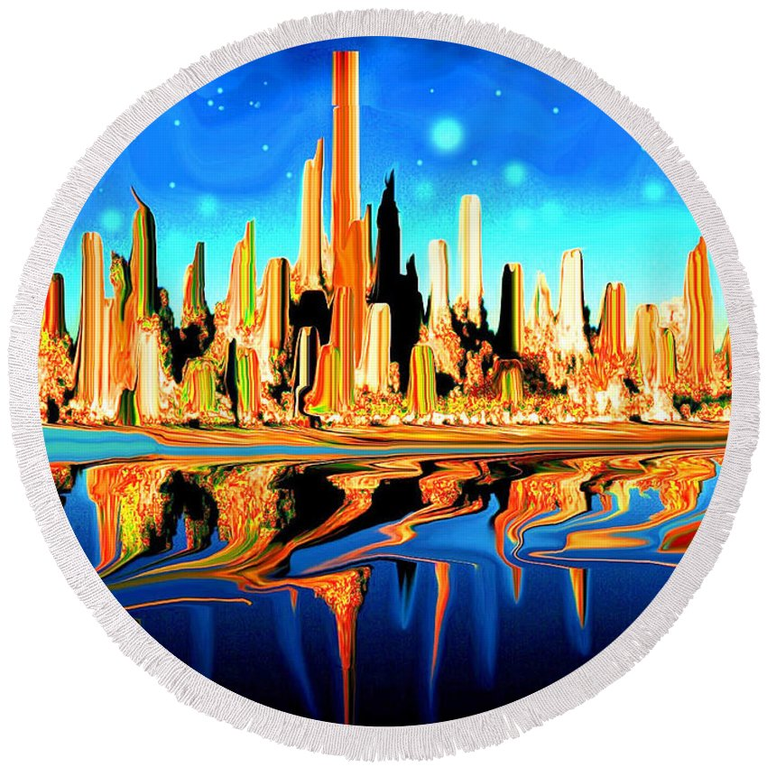 New+york Round Beach Towel featuring the painting New York Skyline Blue Orange - Modern Art by Peter Potter