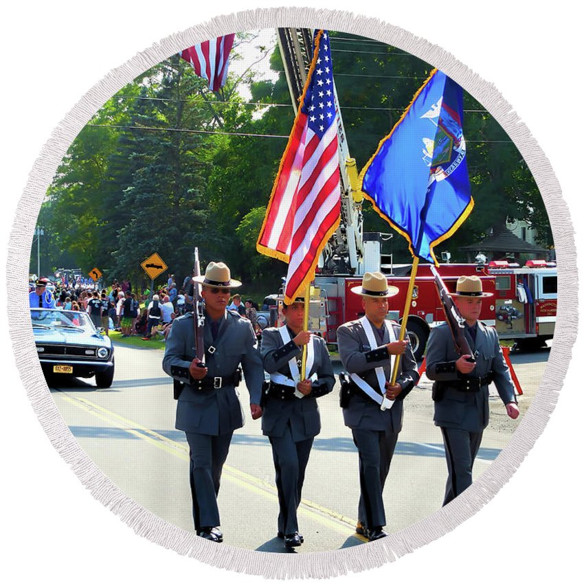 New York State Round Beach Towel featuring the painting New York State Police Color Guard 5 by Jeelan Clark