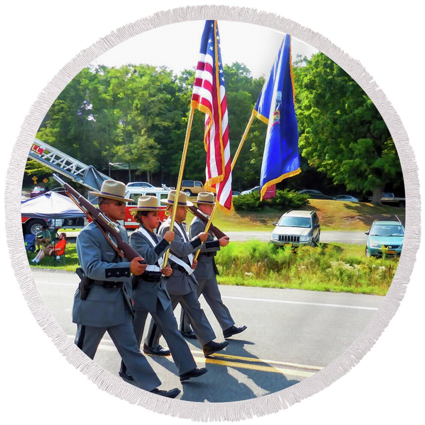 New York State Round Beach Towel featuring the painting New York State Police Color Guard 6 by Jeelan Clark