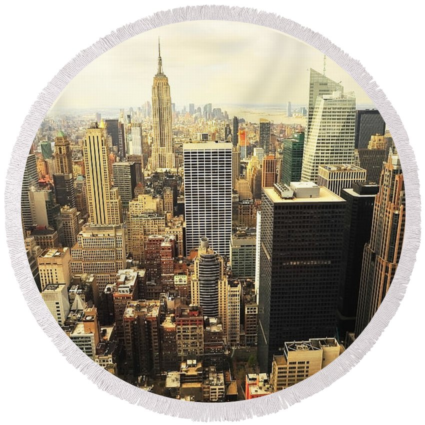 America Round Beach Towel featuring the photograph New York by Svetlana Sewell