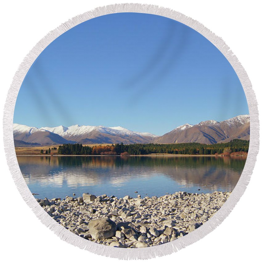 Nature Round Beach Towel featuring the photograph New Zealand Lake by Pei Qin Chua