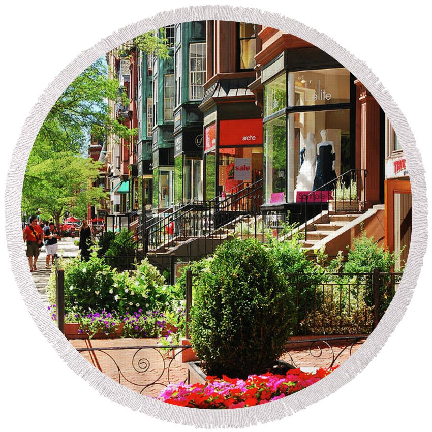 Boston Round Beach Towel featuring the photograph Newberry Street Spring by James Kirkikis