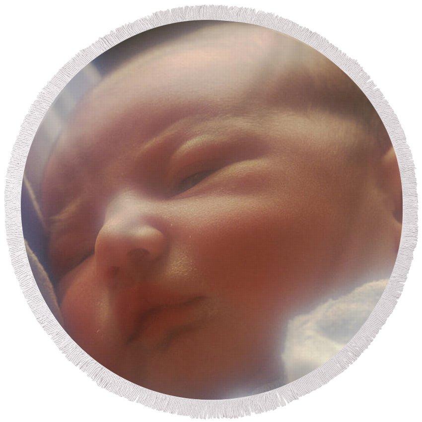 Newborn Round Beach Towel featuring the photograph Newborn Baby by George Mattei