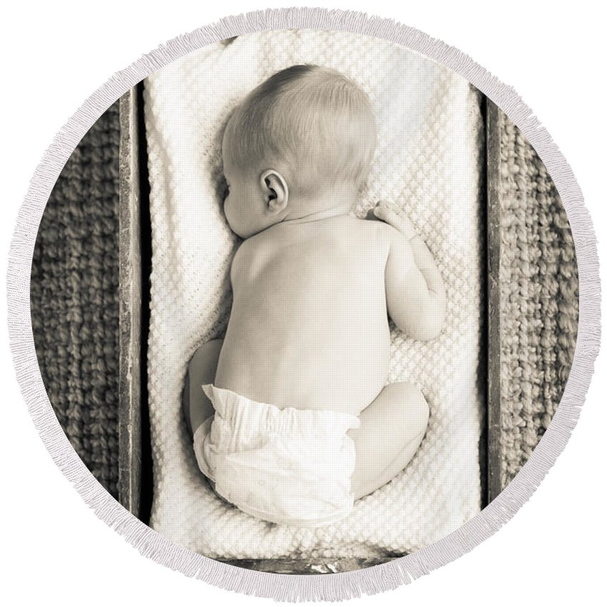 Baby Round Beach Towel featuring the photograph Newborn Baby In Crate Filtered by Tim Hester