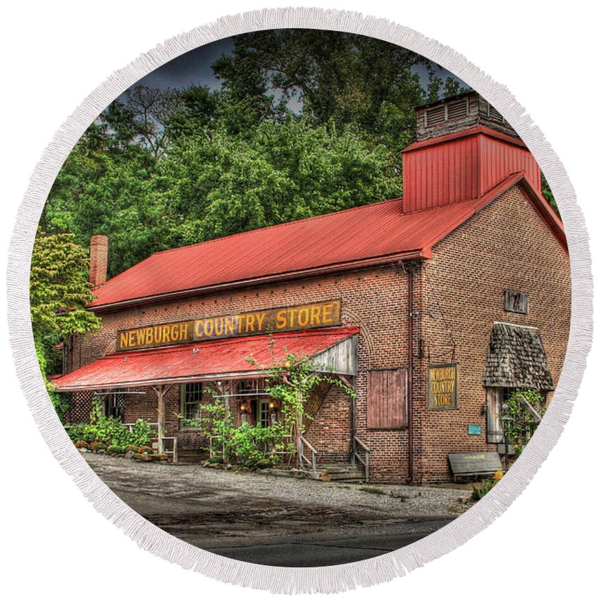 Todd Carter Country Store B/w Hdr Newburgh Country Store Barn Church Plants Old Rust Mom And Pop Rural Brick Building Historical Round Beach Towel featuring the photograph Newburgh Country Store Vignette by Todd Carter