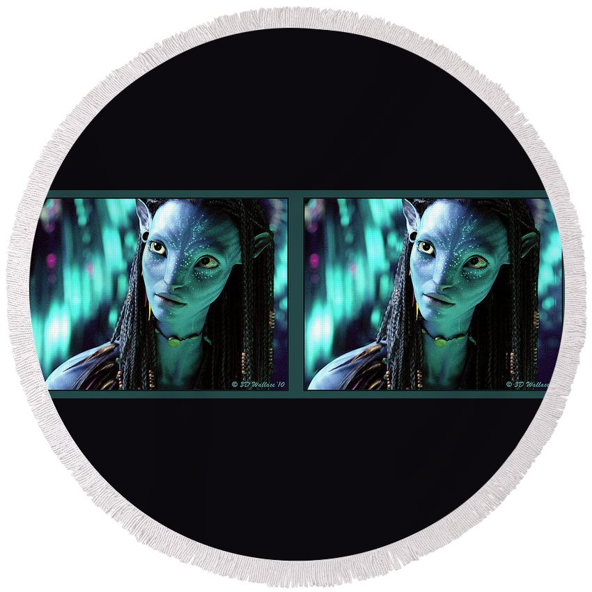 3d Round Beach Towel featuring the photograph Neytiri - Gently Cross Your Eyes And Focus On The Middle Image by Brian Wallace