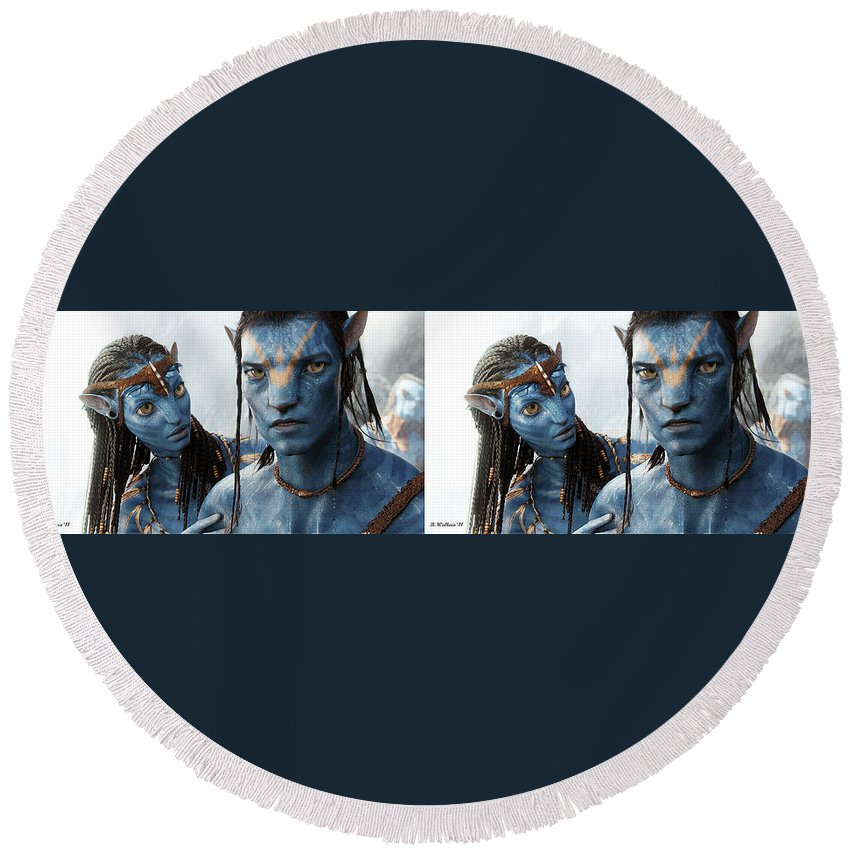 3d Round Beach Towel featuring the photograph Neytiri And Jake - Gently Cross Your Eyes And Focus On The Middle Image by Brian Wallace