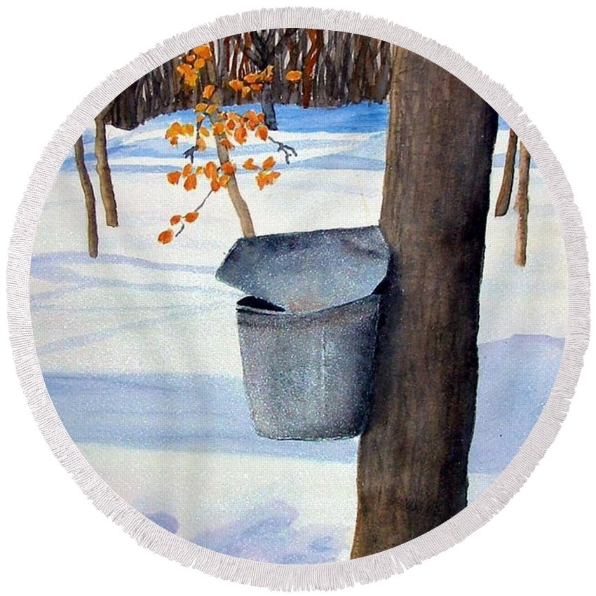 Sap Bucket. Maple Sugaring Round Beach Towel featuring the painting NH Goldmine by Sharon E Allen