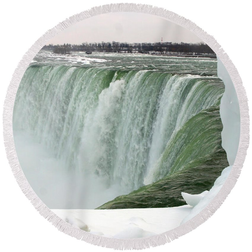 Niagara Falls Round Beach Towel featuring the photograph Niagara Falls 2 by Anthony Jones