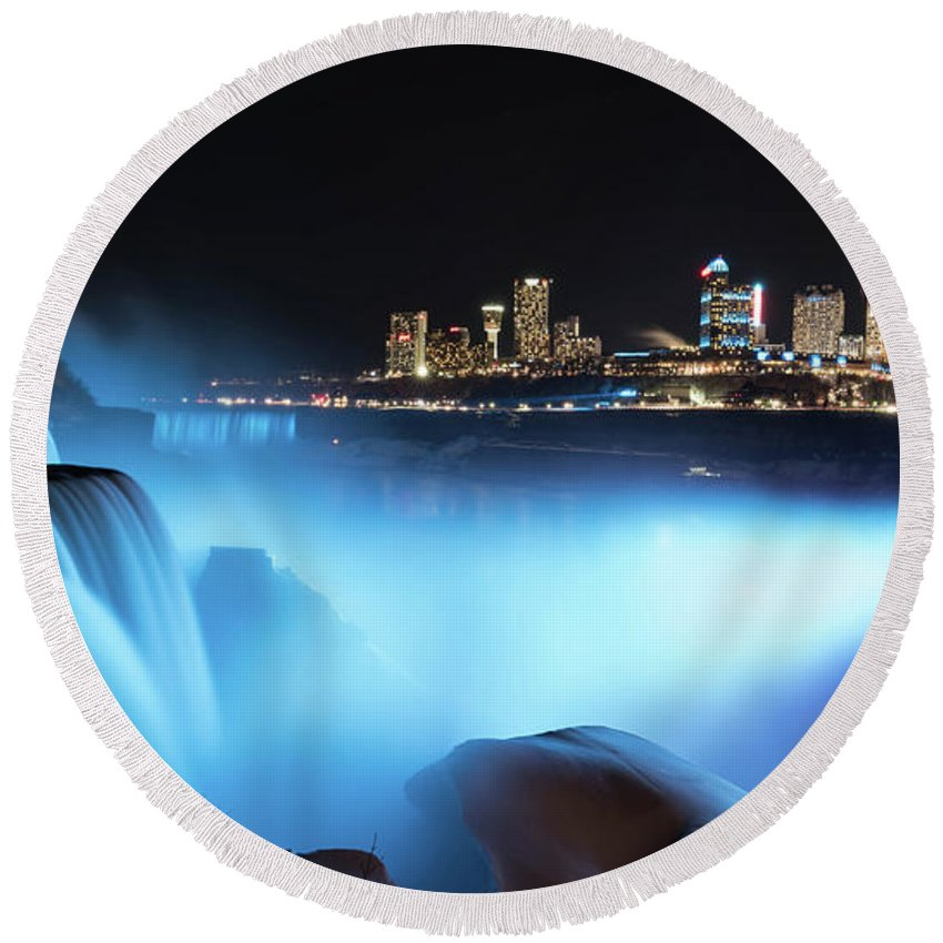 Usa Round Beach Towel featuring the photograph Niagara Falls At Night - Blue by Framing Places