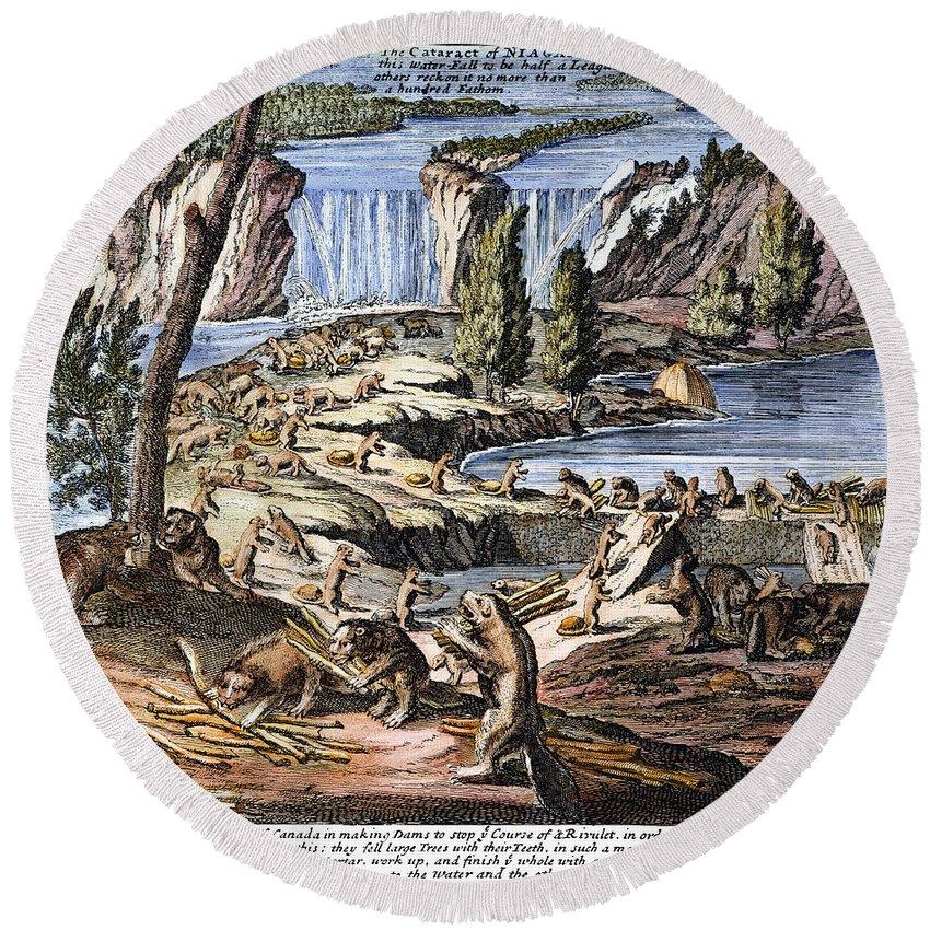 1715 Round Beach Towel featuring the photograph Niagara Falls: Beavers, 1715 by Granger