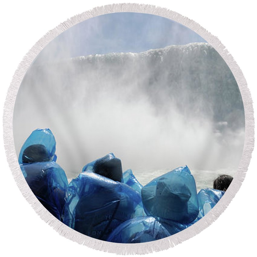Niagara Falls Round Beach Towel featuring the photograph Niagara Falls Maid Of The Mist Boat Ride by Maxim Images Prints