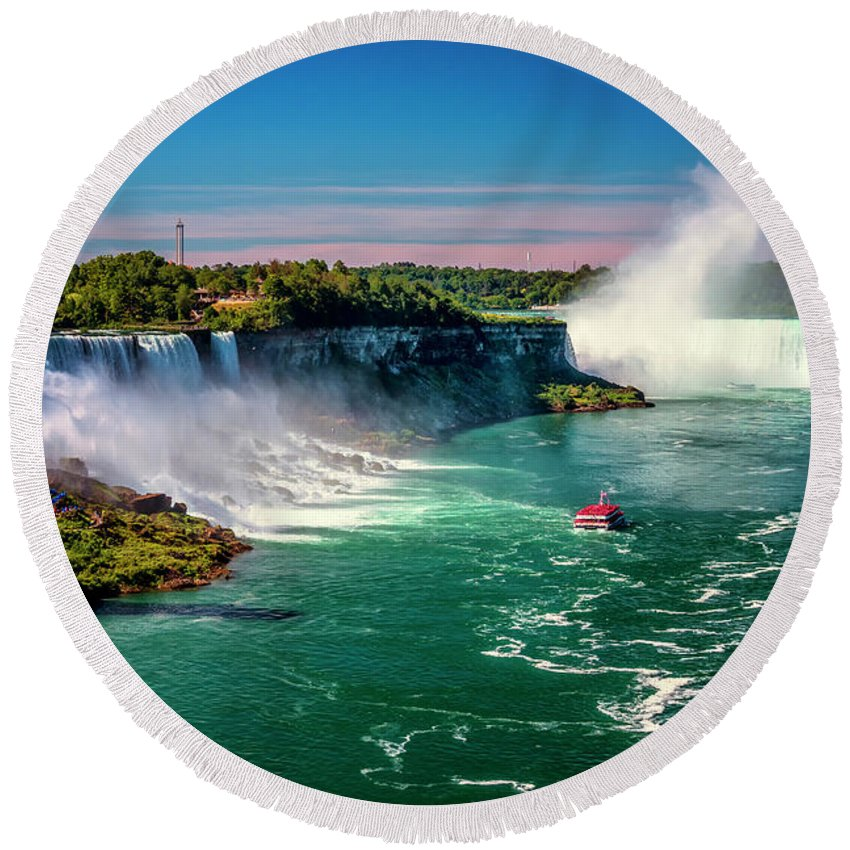 New York Round Beach Towel featuring the photograph Niagara Falls Maid Of The Mist_dsc8712_16 by Greg Kluempers